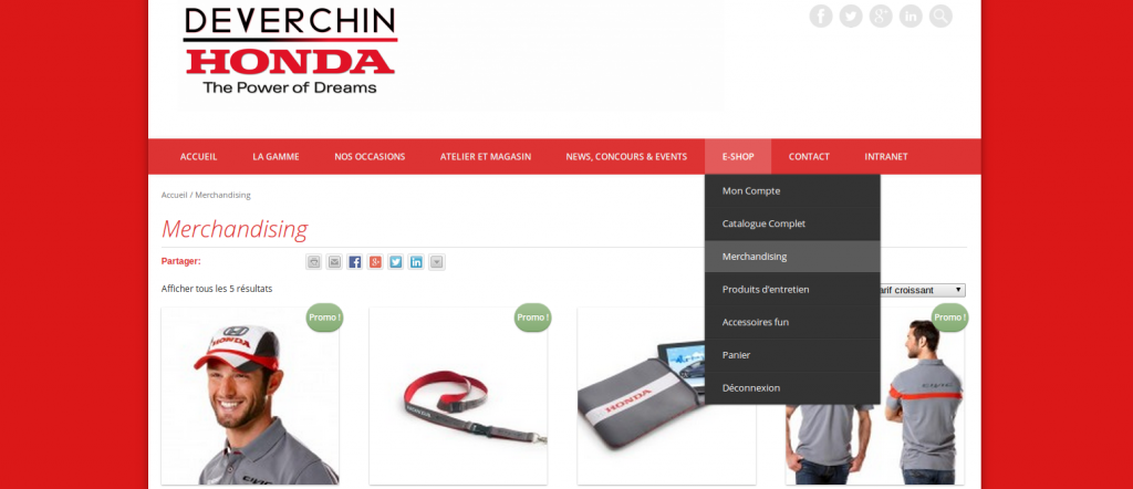 Capture d'écran - Webshop Deverchin